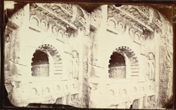 View from the left of the great horseshoe window over the entrance of Buddhist chaitya hall, Cave IX, Ajanta